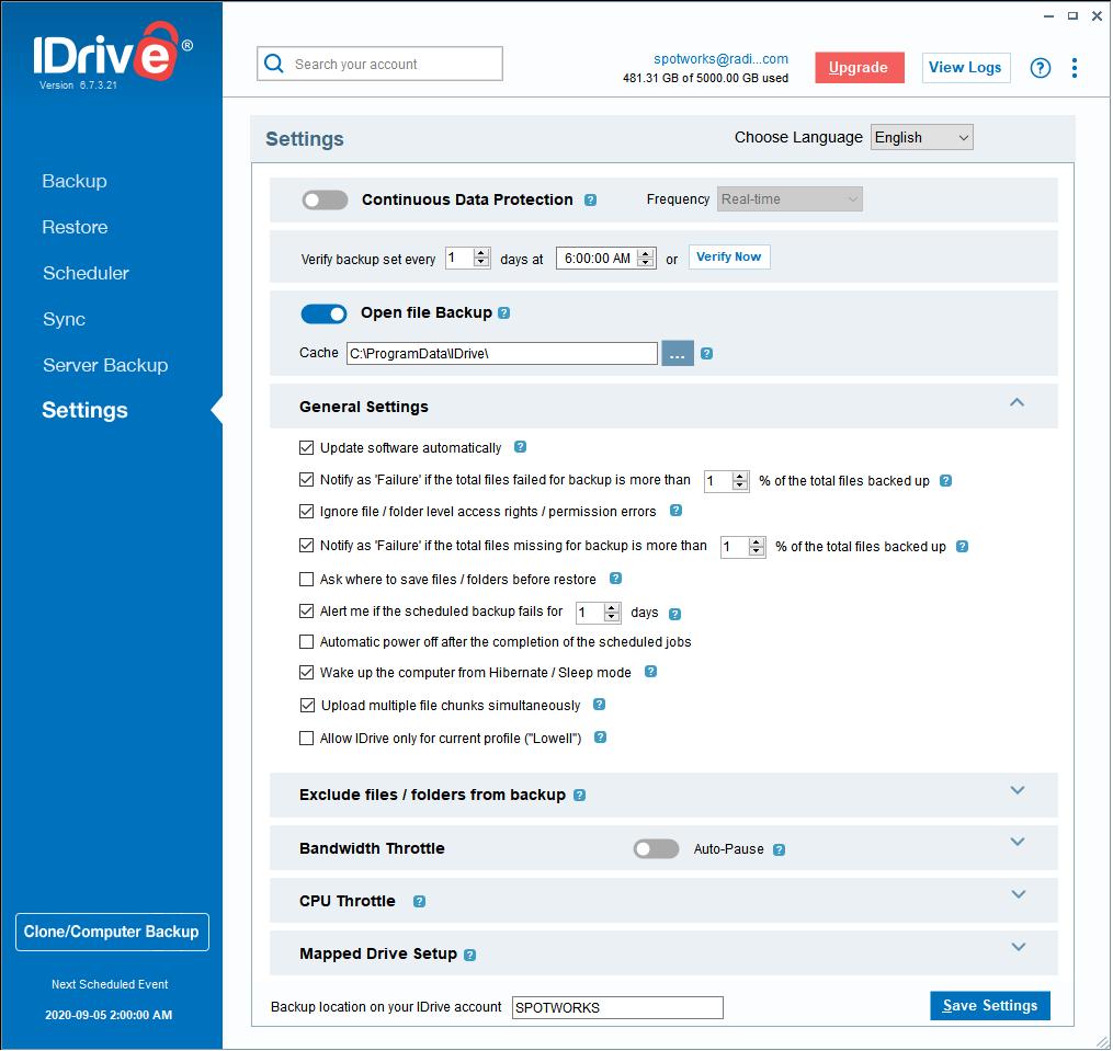 IDrive Online BackUp Settings